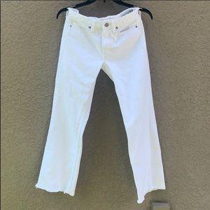 NWOT AllSaints Belle White Fray Bottom Jeans